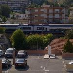 Vue du balcon Les trains
