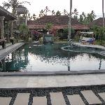 Pool area is central to the complex