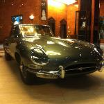 e-type jag in reception. don't know why but fab!