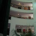 Interior balcony overlooking reception area
