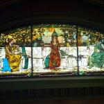 Stained glass and beautiful architecture inside near the lobby