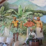 Lovely handpainted banana plantation mural