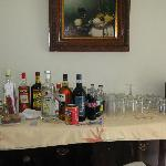 Bar set-up in villa, complimentary