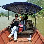 Traveling on boat from hike to Lao Cai village for lunch