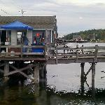 our view from the table. lobster shack where the FRESH lobsters were being sold