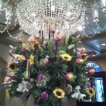 Fresh flowers and Chandelier in the lobby/entrance