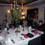 The dining room set up ready for the party
