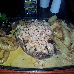 ribeye with piri piri prawns :-)