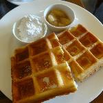 Awesome waffles with Maple Syrup/Whipped Cream/Apple Compote