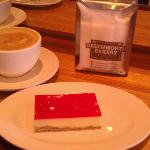 Jelly Slice and a flat white at the Beechworth Bakery. Yum