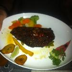 Spicy blackened fish (wahoo or mahi) with sweet chili sauce