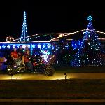 See the beautifull Christmas Lights on the back of our powerfull trike.
