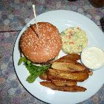 The famous Redcat burger...home made burger+chips.delicious and enormous !Russian salad+dip...yu