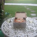 pizza & wine on our patio!