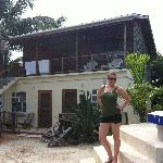 Jodie in front of our home away from home.