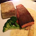 Wild sockeye salmon fillet with fennel potato gratin and pernod beurre blanc