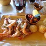 Gamberi alla Griglia with Sicilian Caponata & Arancini