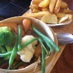 Vegetable and chip accompaniment to main meal