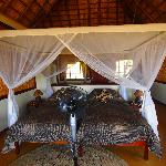 A spacious, room overlooking the river, with hippos ouside at times!