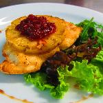 Chicken fillet with grilled pineapple and cranberries