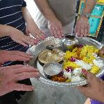 Joining in on a Hindu ceremony during a temple visit