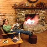 Relaxing in the common group cabin after a day of fun