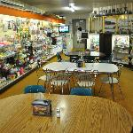 Inside at the back of the drug store