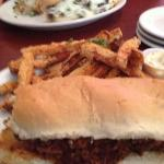 yam fries with pulled pork po'boy
