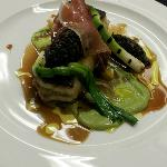 Roasted Brill on the bone, grilled onions, mushroom duxelle & air dried ham