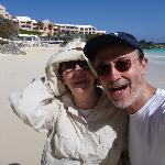Us on the beach in 2010 - yea! It's a private beach, hotel in background.