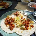 pork tacos w/ mango salsa-Bluewater Grill
