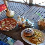 Lunch is served ... the best pizza (made in a pizza oven) & jumbo burgers big enough to feed a l