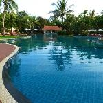 spacious and inviting pool. Pool bar is at the end.