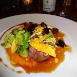 Roast loin of venison with braised pumpkin, Savoy cabbage, sweet chestnuts and Slivovic sauce