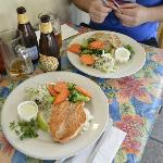 Grilled salmon and grilled swordfish