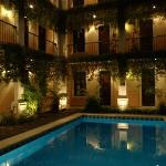 Pool and rooms at night