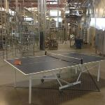 Ping pong table with the canning line, typical of the company's approach.