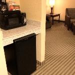 Fridge/Coffee/Micro station overlooking common area in suite