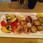 Scallops, rosemary potatoes and grilled veggies