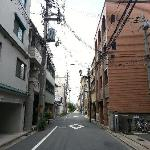 The hostel is on the right-hand side, after crossing the traffic light outside Lawson on Shichij