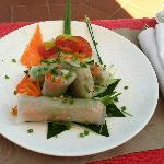 Spring rolls by the pool-- delicious
