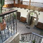 View of courtyard from stairs to second level