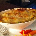 Piping hot chicken pot pie from room service - pretty good!