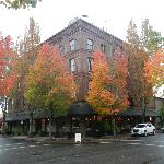 Hotel Oregon Flanked by Fall Foliage and Flying Saucer