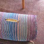 Upholstery on arm of sofa
