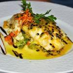 grilled red snapper with passion fruit sauce
