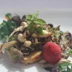 mushrooms and raspberry