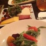 From top; cheese flatbread, charcuterie, beet n grapefruit salad