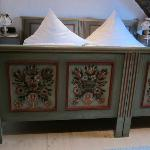 Decorative painting on bed frame
