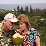 Sharing a coconut with my husband.